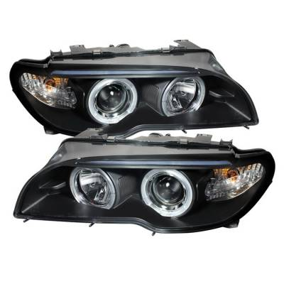 Headlights & Tail Lights - Headlights - Spyder - BMW 3 Series 2DR Spyder Halo LED - Projector Headlights - Black - 1PC - 444-BMWE4604-2DR-HL-BK