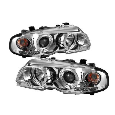 Headlights & Tail Lights - Headlights - Spyder - BMW 3 Series 2DR Spyder Projector Headlights - LED Halo - LED - Chrome - 1PC - 444-BMWE46-2D-HL-C