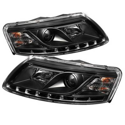 Headlights & Tail Lights - Headlights - Spyder Auto - Audi A6 Spyder Daytime Running LED Projector Headlights - Black - 444-BMWE46-2D-HL-C