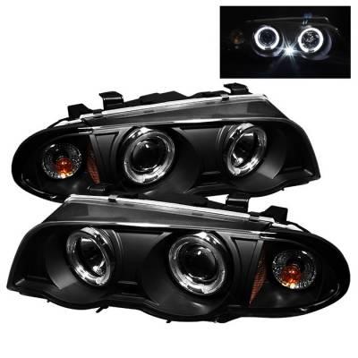 Headlights & Tail Lights - Headlights - Spyder - BMW 3 Series 4DR Spyder Projector Headlights - LED Halo - Amber Reflector - Black - 444-BMWE46-4D-HL-AM-BK