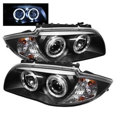 Headlights & Tail Lights - Headlights - Spyder - BMW 1 Series Spyder Projector Headlights - LED Halo - Black - 444-BMWE87-HL-BK
