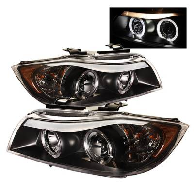Headlights & Tail Lights - Headlights - Spyder - BMW 3 Series 4DR Spyder Projector Headlights - LED Halo - Amber Reflector - Replaceable Eyebrow Bulb - Black - 444-BMWE9005-AM-BK