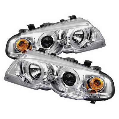 Spyder Auto - BMW 3 Series 4DR Spyder Halo LED Projector Headlights - Chrome - 444-BMWE9005-AM-BK