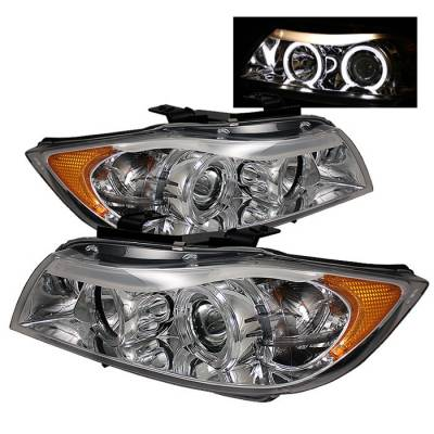 Headlights & Tail Lights - Headlights - Spyder - BMW 3 Series 4DR Spyder Projector Headlights - LED Halo - Amber Reflector - Replaceable Eyebrow Bulb - Chrome - 444-BMWE9005-AM-C