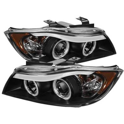 Headlights & Tail Lights - Headlights - Spyder - BMW 3 Series 4DR Spyder Projector Headlights - CCFL Halo - Replaceable Eyebrow Bulb - Black - 444-BMWE9005-CCFL-BK