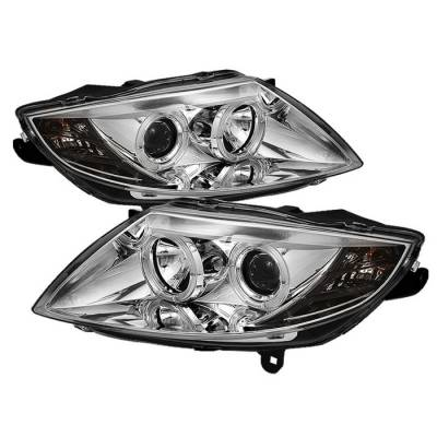 Headlights & Tail Lights - Headlights - Spyder - BMW Z4 Spyder Projector Headlights - Xenon HID Model Only - LED Halo - Smoke - 444-BMWZ403-HID-C