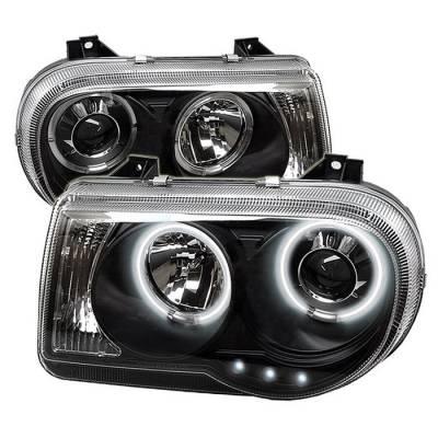 Headlights & Tail Lights - Headlights - Spyder - Chrysler 300 Spyder Projector Headlights - CCFL Halo - LED - Black - 444-C300C-CCFL-BK