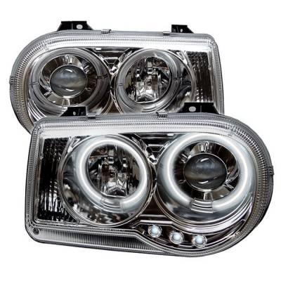 Headlights & Tail Lights - Headlights - Spyder - Chrysler 300 Spyder Projector Headlights - CCFL Halo - LED - Chrome - 444-C300C-CCFL-C