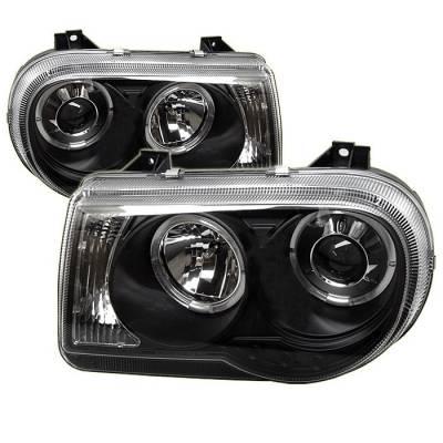 Headlights & Tail Lights - Headlights - Spyder - Chrysler 300 Spyder Projector Headlights - LED Halo - LED - Black - 444-C300C-HL-BK