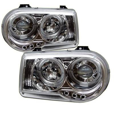 Headlights & Tail Lights - Headlights - Spyder - Chrysler 300 Spyder Projector Headlights - LED Halo - LED - Chrome - 444-C300C-HL-C