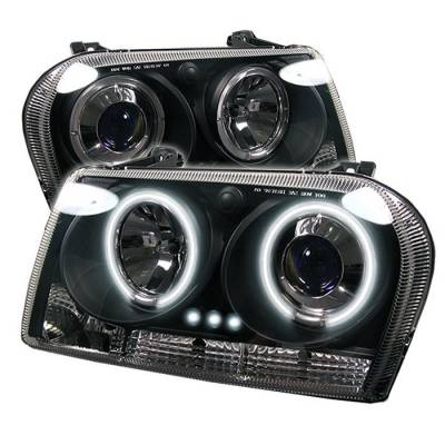 Headlights & Tail Lights - Headlights - Spyder - Chrysler 300 Spyder Projector Headlights - CCFL Halo - LED - Black - 444-C305-CCFL-BK