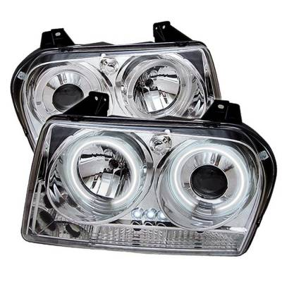 Headlights & Tail Lights - Headlights - Spyder - Chrysler 300 Spyder Projector Headlights - CCFL Halo - LED - Chrome - 444-C305-CCFL-C