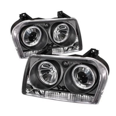 Headlights & Tail Lights - Headlights - Spyder - Chrysler 300 Spyder Projector Headlights - LED Halo - LED - Black - 444-C305-HL-BK