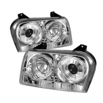 Headlights & Tail Lights - Headlights - Spyder - Chrysler 300 Spyder Projector Headlights - LED Halo - LED - Chrome - 444-C305-HL-C