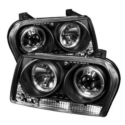 Headlights & Tail Lights - Headlights - Spyder - Chrysler 300 Spyder Projector Headlights - LED Halo - LED - Black - 444-C309-HL-BK