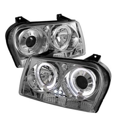 Headlights & Tail Lights - Headlights - Spyder - Chrysler 300 Spyder Projector Headlights - LED Halo - LED - Chrome - 444-C309-HL-C