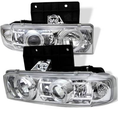 Headlights & Tail Lights - Headlights - Spyder - Chevrolet Astro Spyder Projector Headlights - LED Halo - Chrome - 444-CA95-HL-C