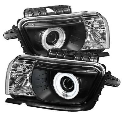 Headlights & Tail Lights - Headlights - Spyder - Chevrolet Camaro Spyder Projector Headlights Dual Halo - CCFL Halo - Black - 444-CCAM2010-CCFL-BK