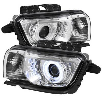 Headlights & Tail Lights - Headlights - Spyder - Chevrolet Camaro Spyder Projector Headlights Dual Halo - CCFL Halo - Chrome - 444-CCAM2010-CCFL-C