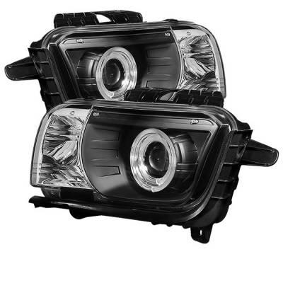 Headlights & Tail Lights - Headlights - Spyder - Chevrolet Camaro Spyder Projector Headlights Dual Halo - LED Halo - Black - 444-CCAM2010-HL-BK