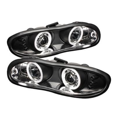 Headlights & Tail Lights - Headlights - Spyder - Chevrolet Camaro Spyder Projector Headlights - CCFL Halo - LED - Black - 444-CCAM98-CCFL-BK