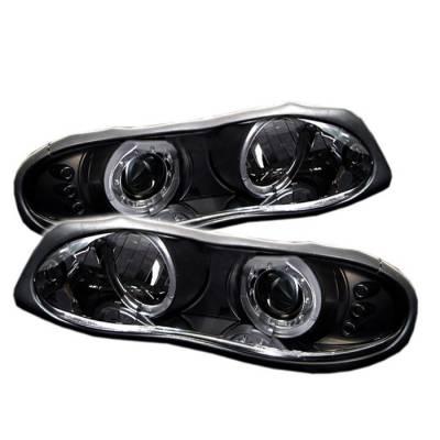 Headlights & Tail Lights - Headlights - Spyder - Chevrolet Camaro Spyder Projector Headlights - LED Halo - LED - Black - 444-CCAM98-HL-BK