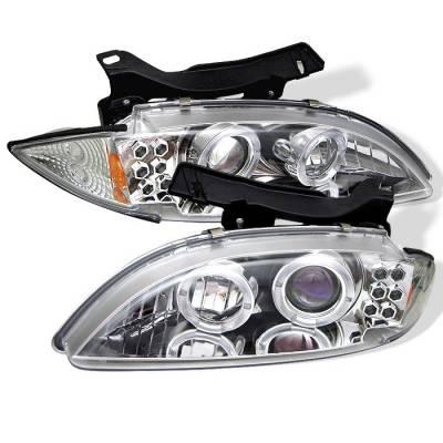 Headlights & Tail Lights - Headlights - Spyder - Chevrolet Cavalier Spyder Projector Headlights - LED Halo - replaceanle LEDs - Chrome - 444-CCAV95-C