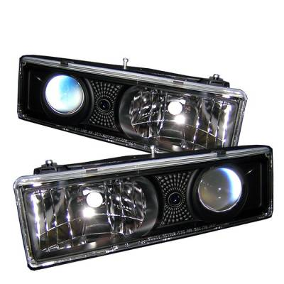 Headlights & Tail Lights - Headlights - Spyder - Chevrolet CK Truck Spyder Projector Headlights - Black - 444-CCK88-BK