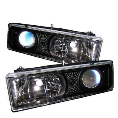 Headlights & Tail Lights - Headlights - Spyder - GMC CK Truck Spyder Projector Headlights - Black - 444-CCK88-BK