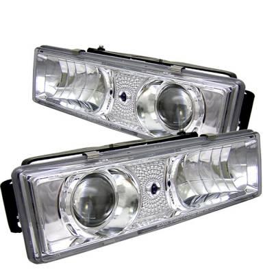Headlights & Tail Lights - Headlights - Spyder - Chevrolet CK Truck Spyder Projector Headlights - Chrome - 444-CCK88-C