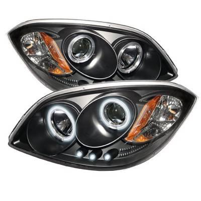 Headlights & Tail Lights - Headlights - Spyder - Pontiac G5 Spyder Projector Headlights - CCFL Halo - LED - Black - 444-CCOB05-CCFL-BK