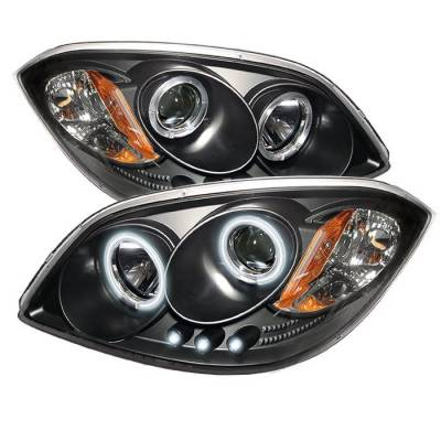 Headlights & Tail Lights - Headlights - Spyder - Pontiac Pursuit Spyder Projector Headlights - CCFL Halo - LED - Black - 444-CCOB05-CCFL-BK