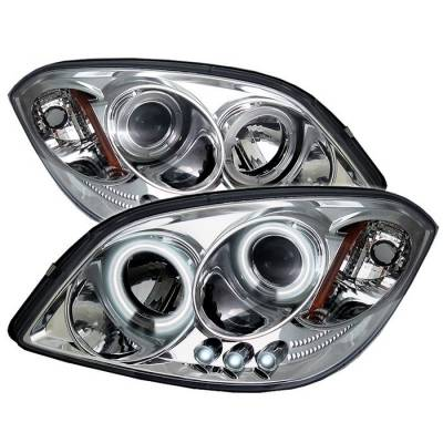 Headlights & Tail Lights - Headlights - Spyder - Pontiac Pursuit Spyder Projector Headlights - CCFL Halo - LED - Chrome - 444-CCOB05-CCFL-C