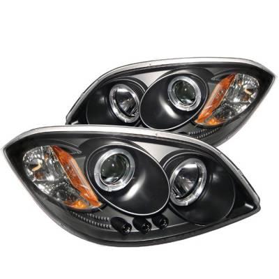 Headlights & Tail Lights - Headlights - Spyder - Pontiac G5 Spyder Projector Headlights - LED Halo - LED - Black - 444-CCOB05-HL-BK