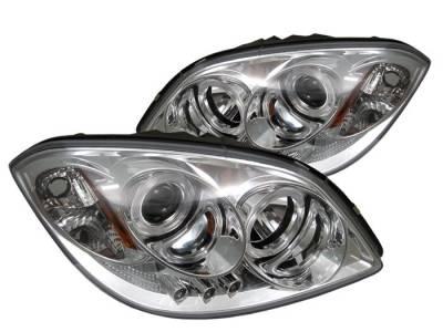 Headlights & Tail Lights - Headlights - Spyder - Pontiac G5 Spyder Projector Headlights - LED Halo - LED - Chrome - 444-CCOB05-HL-C