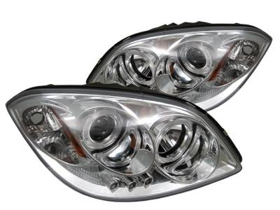Headlights & Tail Lights - Headlights - Spyder - Pontiac Pursuit Spyder Projector Headlights - LED Halo - LED - Chrome - 444-CCOB05-HL-C