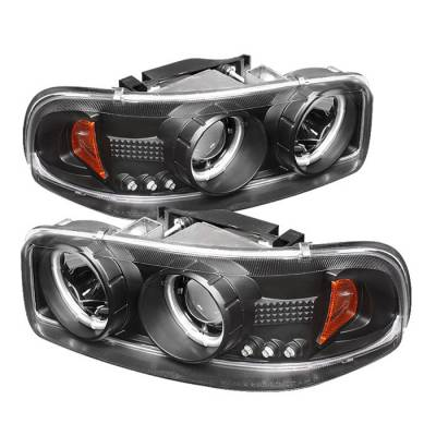 Headlights & Tail Lights - Headlights - Spyder - GMC Sierra Spyder Projector Headlights - CCFL Halo - LED - Black - 444-CDE00-CCFL-BK