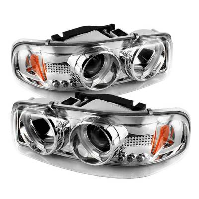 Headlights & Tail Lights - Headlights - Spyder - GMC Sierra Spyder Projector Headlights - CCFL Halo - LED - Chrome - 444-CDE00-CCFL-C