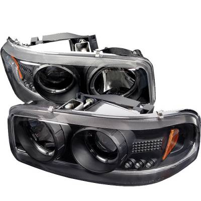 Headlights & Tail Lights - Headlights - Spyder - GMC Sierra Spyder Projector Headlights - LED Halo - LED - Black - 444-CDE00-HL-BK