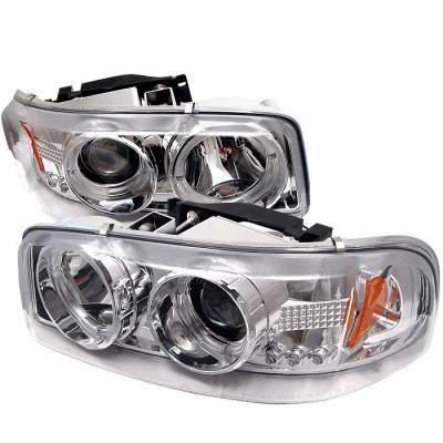 Headlights & Tail Lights - Headlights - Spyder - GMC Sierra Spyder Projector Headlights - LED Halo - LED - Chrome - 444-CDE00-HL-C