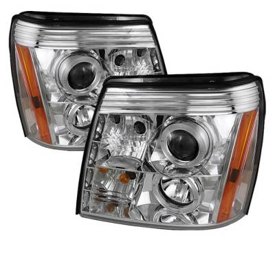 Headlights & Tail Lights - Headlights - Spyder - Cadillac Escalade Spyder Projector Headlights LED Halo - DRL - Chrome - 444-CE02-DRL-C