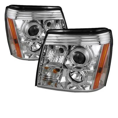 Headlights & Tail Lights - Headlights - Spyder - Cadillac Escalade Spyder Projector Headlights - Xenon HID Model Only - LED Halo - DRL - Chrome - 444-CE02-HID-DRL-C