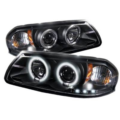 Headlights & Tail Lights - Headlights - Spyder - Chevrolet Impala Spyder Projector Headlights - CCFL Halo - LED - Black - 444-CHIP00-CCFL-BK