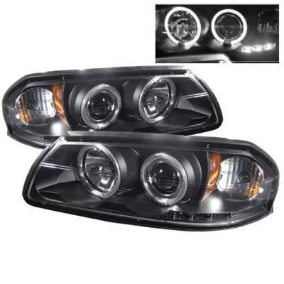 Headlights & Tail Lights - Headlights - Spyder - Chevrolet Impala Spyder Projector Headlights - LED Halo - LED - Black - 444-CHIP00-HL-BK