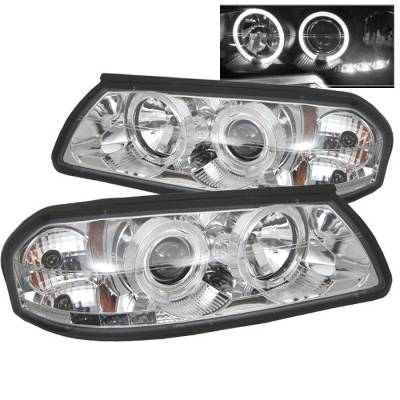 Headlights & Tail Lights - Headlights - Spyder - Chevrolet Impala Spyder Projector Headlights - LED Halo - LED - Chrome - 444-CHIP00-HL-C