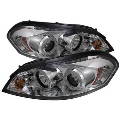 Headlights & Tail Lights - Headlights - Spyder - Chevrolet Impala Spyder Projector Headlights - LED Halo - LED - Chrome - 444-CHIP06-HL-C