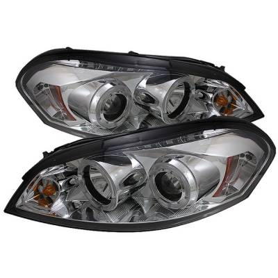 Headlights & Tail Lights - Headlights - Spyder - Chevrolet Monte Carlo Spyder Projector Headlights - LED Halo - LED - Chrome - 444-CHIP06-HL-C
