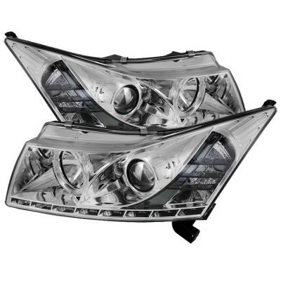 Headlights & Tail Lights - Headlights - Spyder Auto - Chevrolet Cruze Spyder Daytime Running LED Projector Headlights - Chrome - 444-CHIP06-HL-SM