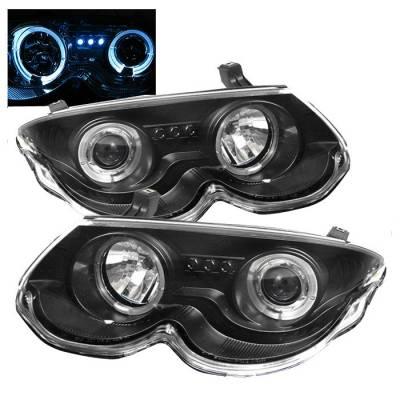 Headlights & Tail Lights - Headlights - Spyder - Chrysler 300 Spyder Projector Headlights - LED Halo - LED - Black - 444-CHR300M99-HL-BK