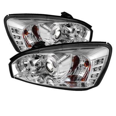 Headlights & Tail Lights - Headlights - Spyder - Chevrolet Malibu Spyder Projector Headlights - LED Halo - LED - Chrome - 444-CM04-HL-C